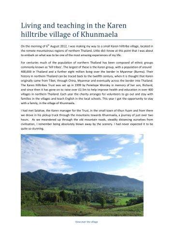 Living and teaching in the Karen hilltribe village of Khunmaela