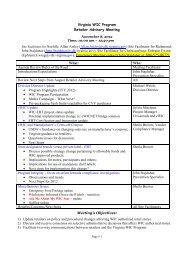 Virginia WIC Program Retailer Advisory Meeting Site Facilitator for ...