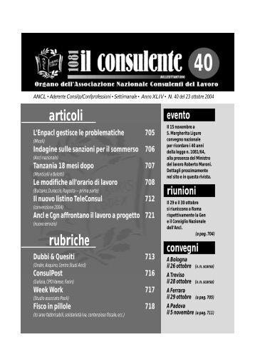 N. 40 del 23 ottobre 2004 718 il consulente 1081 - Ancl