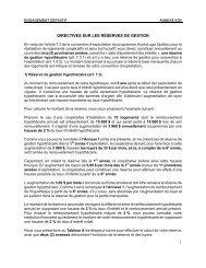Directives sur les réserves de gestion - Société d'habitation du Québec