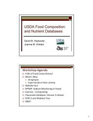 USDA Food Composition and Nutrient Databases - National Nutrient ...