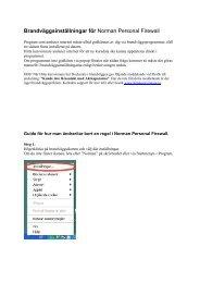 Brandväggsinställningar för Norman Personal Firewall - Aktiespararna