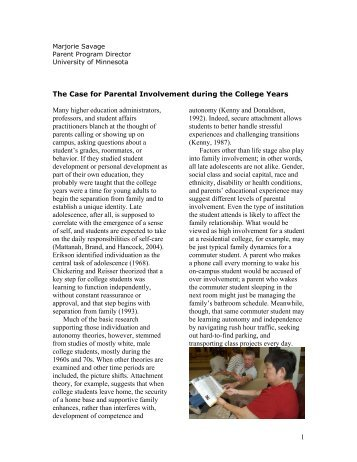 The Case for Parental Involvement during the College Years Many ...
