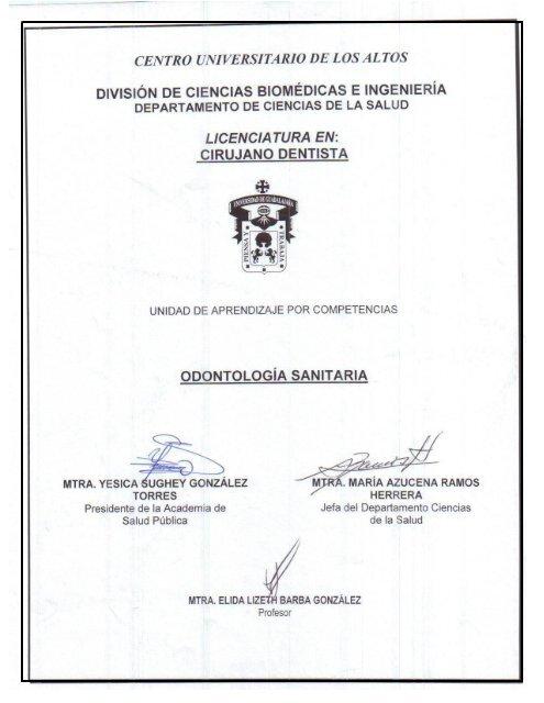 Odontología Sanitaria - Centro Universitario de los Altos ...