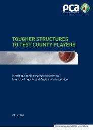 Tougher Structures - The Professional Cricketers' Association