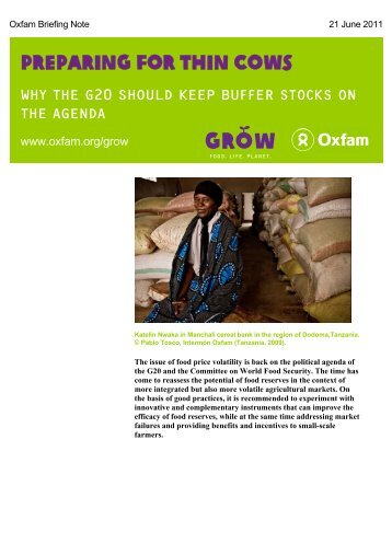 Preparing for Thin Cows - Oxfam International