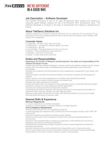 Job Description âÂu20acÂu201c Software Developer About TekSavvy Solutions Inc ..