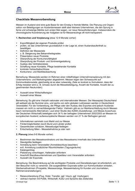Checkliste Messevorbereitung