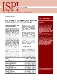 Coordination of the Humanitarian Response to Earthquakes ... - Ispi