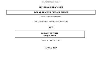 Voir le budget 2013 - Conseil général du Morbihan