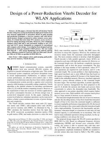 Design of a Power-Reduction Viterbi Decoder for WLAN Applications
