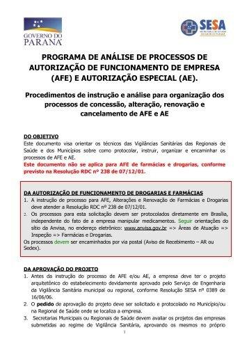 (AFE) E AUTORIZAÇÃO ESPECIAL (AE). - Secretaria da Saúde
