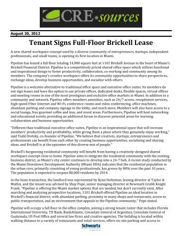 Tenant Signs Full-Floor Brickell Lease - Miami Downtown ...