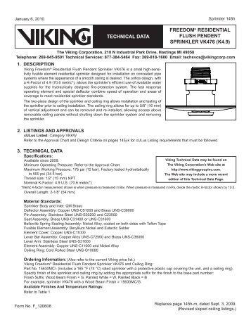 freedom® residential flush pendent sprinkler vk476 (k4.9 ... - Xact
