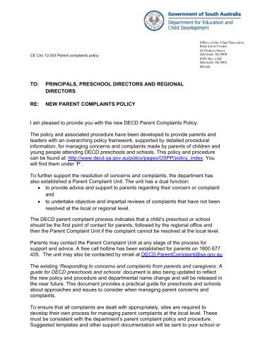 CE Circ 12:003 Parent complaints policy - Department for Education ...