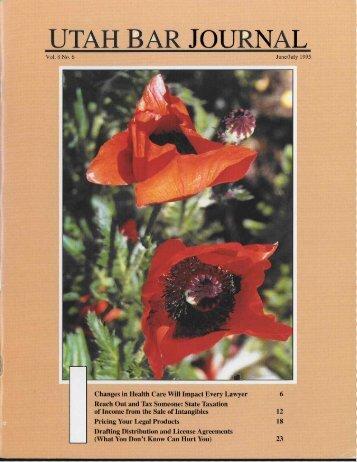 June - July 1995 vol 8 no 6 - the Utah State Bar