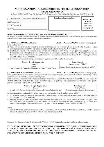 Rinnovo autorizzazione allo scarico