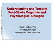 Understanding and Treating Post-Stroke Cognitive and ...