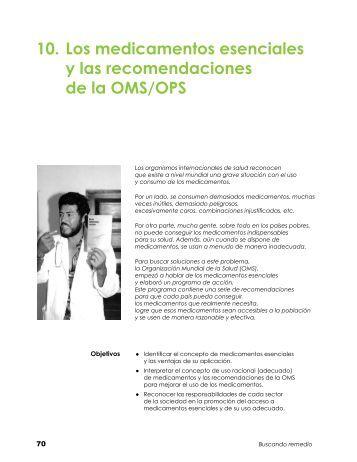10. Los medicamentos esenciales y las recomendaciones de la ...