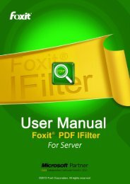 Foxit PDF IFilter 3.0 for Server User Manual