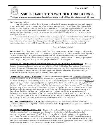 Charleston Catholic High School - March 2013- Newsletter