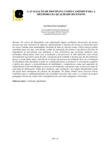 a avaliação de disciplina como caminho para a melhoria da ...
