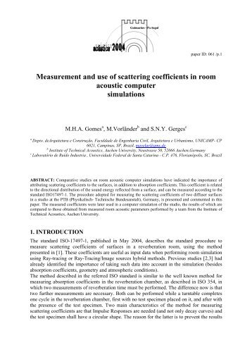 Measurement and use of scattering coefficients in room acoustic ...