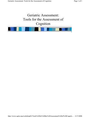 Geriatric Assessment: Tools for the Assessment of Cognition - SGIM