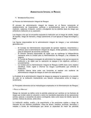 ADMINISTRACIÓN INTEGRAL DE RIESGOS - BanRegio