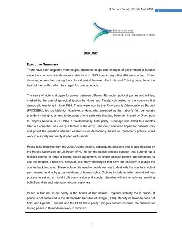 Burundi Assessment on Transitional Justice - Institute for Justice and ...