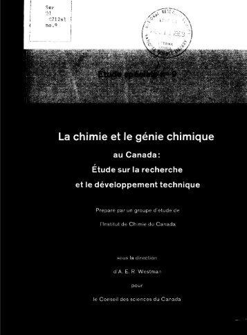 La chimie et le génie chimique au Canada: Etude sur la ... - ArtSites