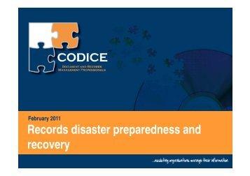 Records disaster preparedness and Records disaster preparedness ...