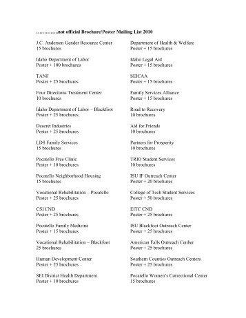 Sample Distribution List - Idaho's Career Pioneer Network