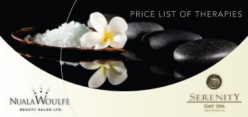 PRICE LIST OF THERAPIES - Serenity Day Spa