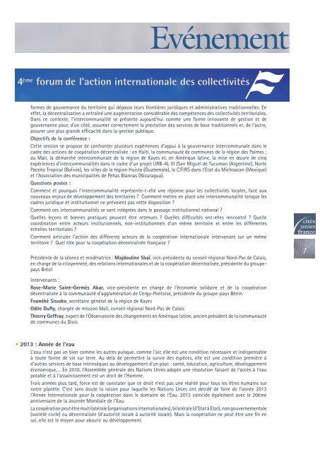 La Lettre - N° spécial Forum 2013 - Cités Unies France