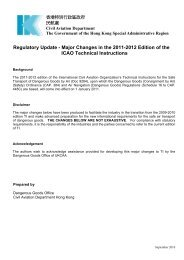 Regulatory Update - Major Changes in the 2011-2012 Edition - 民航處