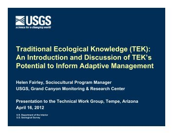 Traditional Ecological Knowledge - Grand Canyon Monitoring and ...