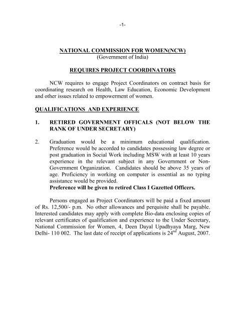 NCW requires to engage Project Coordinators on contract basis