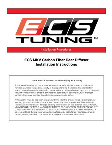 ECS MKV Carbon Fiber Rear Diffuser Installation Instructions