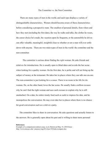 comparison and contrast essay ideas