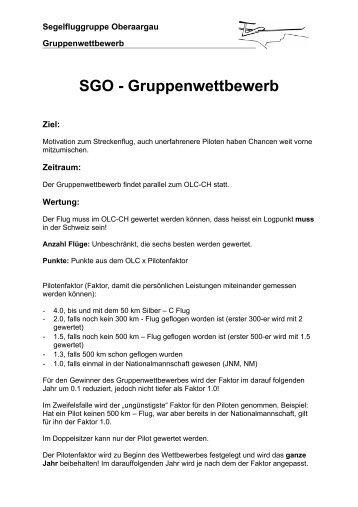 SGO - Gruppenwettbewerb - Segelfluggruppe Oberaargau