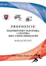 Propozície M SR ZŠ 2013 Nové Zámky - Slovenský atletický zväz