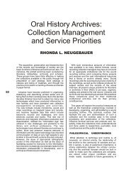 Oral History Archives: Collection Management and Service Priorities