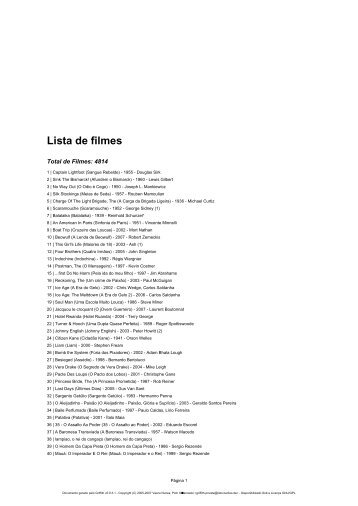 Lista de filmes - Blog do Ludwig Oliveira
