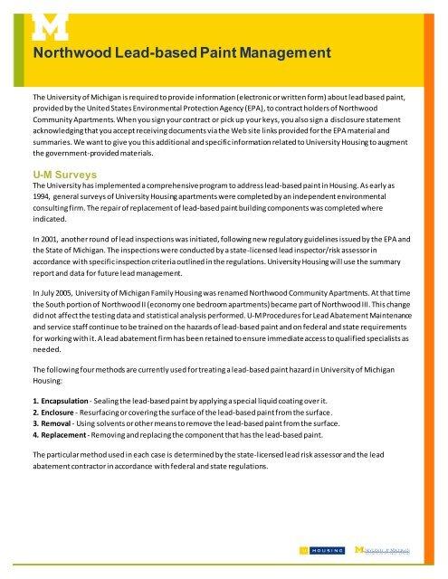 Northwood Lead Based Paint Management University Housing