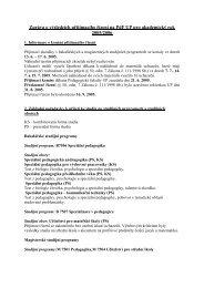 Zpráva o výsledcích přijímacího řízení na PdF UP pro akademický ...