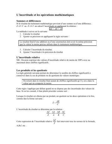L'incertitude et les opérations mathématiques