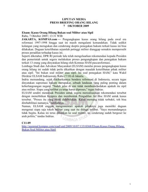 Liputan media mengenai orang hilang - Elsam