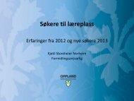 Søkere til læreplass 2013 og erfaringer fra 2012 v/Kjetil Storeheier ...