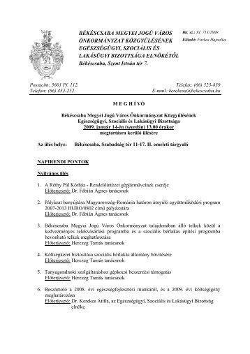 békéscsaba megyei jogú város önkormányzat közgyűlésének ...